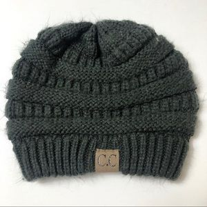 C.C dark gray knit beanie hat